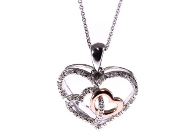 Three hearts pendant in sterling silver with 017ctw of diamonds three hearts pendant in sterling silver with 017ctw of diamonds plus free chain lloyd gems mozeypictures Images