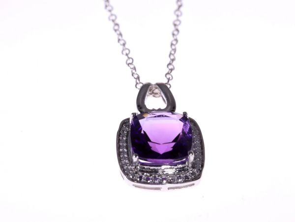 Amethyst pendant in sterling silver plus free chain lloyd gems aloadofball Images